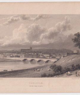 Antique Engraving Print, Carlisle, 1840