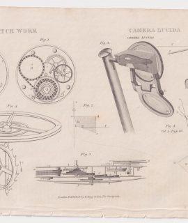 Antique Print, Camera lucida, Watch Work, 1870 ca.