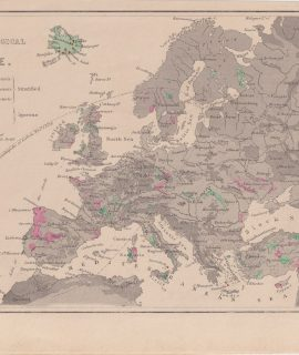 Antique Engraving Print, The Principal Geological features of Europe, 1874
