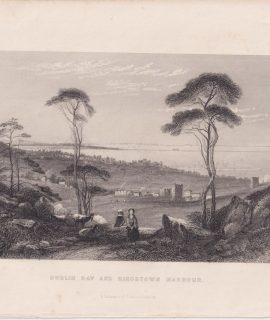 Antique Engraving Print, Dublin Bay and Kingstown Harbour, 1845