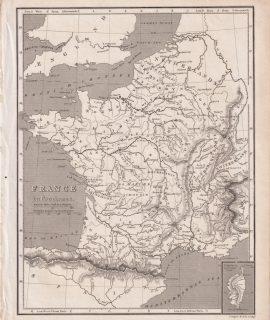 Antique Map, France in provinces, 1809