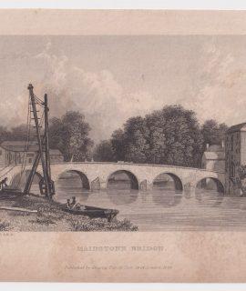 Antique Engraving Print, Maldstone Bridge, 1829