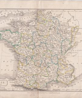 Antique Map, France in provinces, 1826
