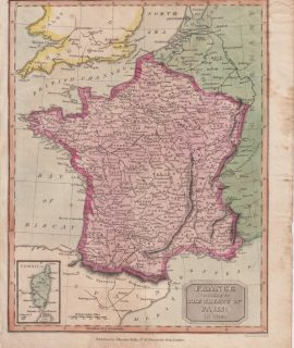 Antique Map, France according to the treaty of Paris in 1814