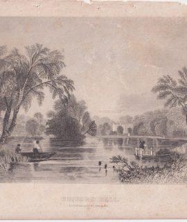 Antique Engraving Print, Rufford Hall, 1846