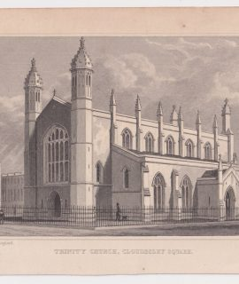 Antique Engraving Print, Trinity Church, Cloudesley Square, 1830