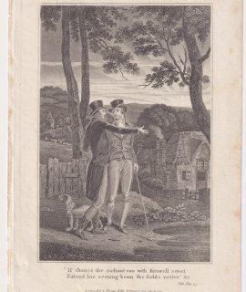 Antique Engraving Print, Setting Sun, 1815