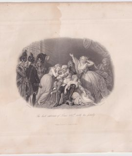 Antique Engraving Print, The last interview of Louis XVI with his family, 1845
