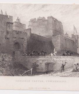Antique Engraving Print, Carlisle Castle, Cumberland, 1835