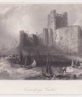 Antique Engraving Print, Carrickfergus Castle, 1836