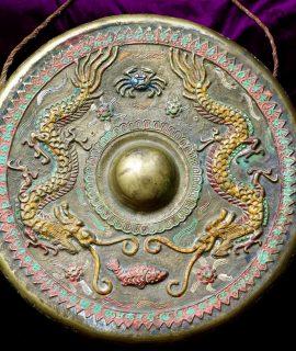 Original Antique Victorian Oriental Brass Gong