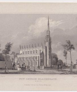 Antique Engraving Print, New Church Blackheath, Kent, 1831