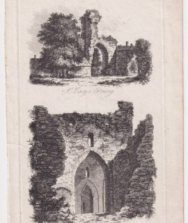 Antique Engraving Print, St. Mary's Priory; In the Castle, 1790