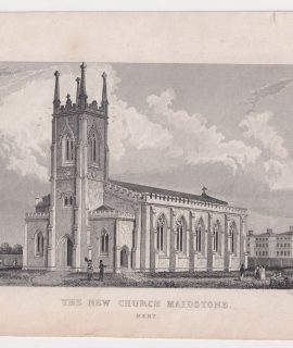 Antique Engraving Print, The New Church Maidstone, Kent, 1829