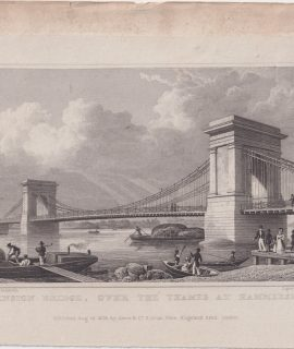 Antique Engraving Print Suspension Bridge Hammersmith 1828