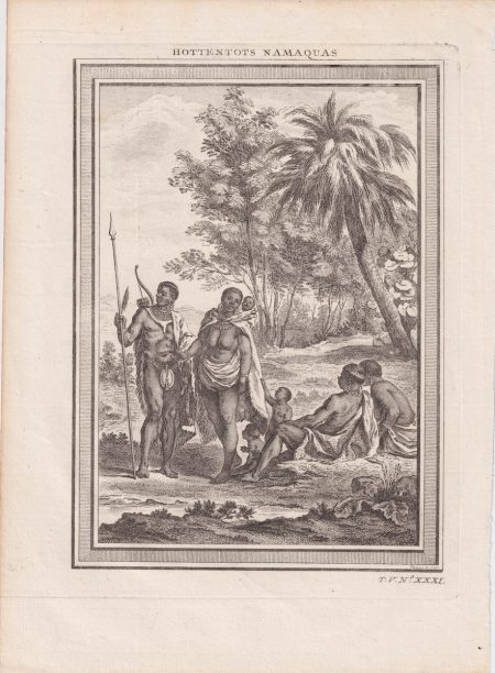 Antique Engraving Print, Hottentots Namaquas, 1770