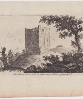 Antique Engraving Print, The Square Tower or Keep of the ancient Castle of Guildford, 1780