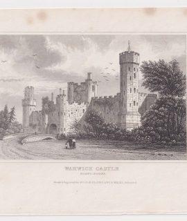 Antique Engraving Print, Warwick Castle, 1840