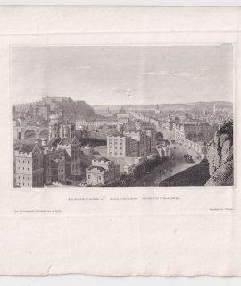 Antique Engraving Print, Highstreet, Edinburg, Scotland, 1820 ca.