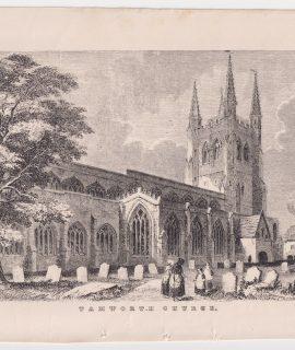 Antique Print, Tamworth Church, 1849 ca.
