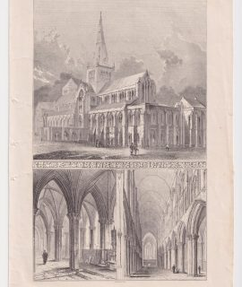 Antique Print, Glasgow Cathedral, 1846