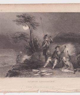 Antique Engraving Print, Salmon Leistering, 1830 ca.