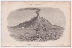 Antique Engraving Print, Mount Vesuvius, 1802