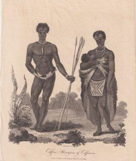 Antique Engraving Print, Caffres Aborigines of Caffraria, 1800