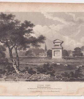 Antique Engraving Print, Stoke Park, Buckinghamshire,1805