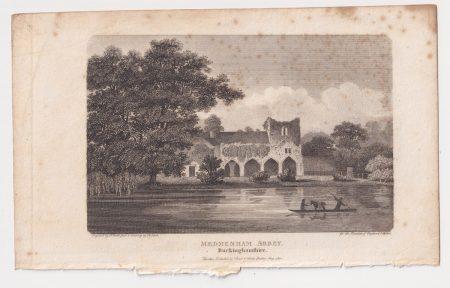 Antique Engraving Print, Medmenham Abbey, 1802