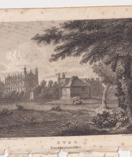 Antique Engraving Print, Eton, Buckinghamshire, 1801