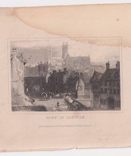 Antique Engraving Print, City of Lincoln, 1830