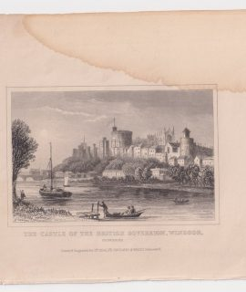 Antique Engraving Print, The Castle of the British Sovereign, Windsor, 1830