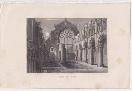 Antique Engraving Print, Holyrood Chapel, Edinburgh, 1848