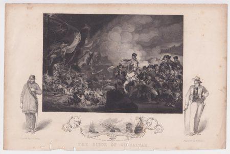 Antique Engraving Print, The siege of Gibraltar, 1850