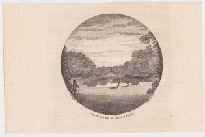 Antique Engraving Print, The Canal at Gubbins, 1870 ca.