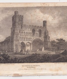 Antique Engraving Print, Dunstable Priory, 1801