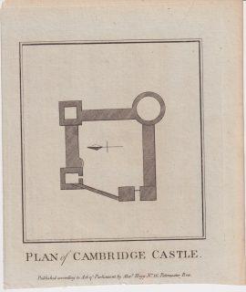 Antique Engraving Print, Plan of Cambridge Castle, 1786