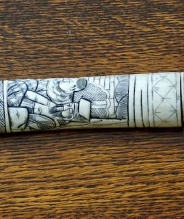 Antique Japanese Tanto Samurai Hand carved Ox Bone