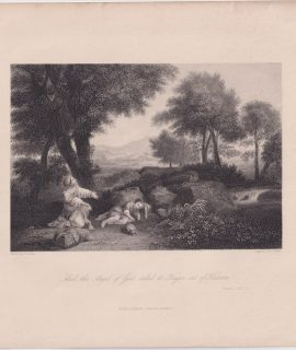 Antique Engraving Print, And the Angel called to Agar, 1836