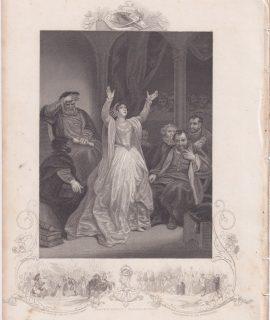 Antique Engraving Print, Condemnation of Anne Boleyn, 1845