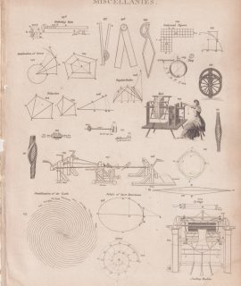 Antique Engraving Print, Miscellanies, 1810 ca.