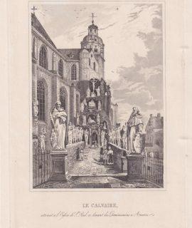 Antique Engraving Print, Le Calvaire, S. Paul, Anvers, 1770 ca.