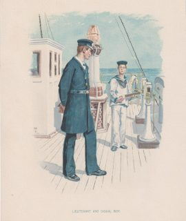 Vintage Print, Lieutenant and signal boy, 1890