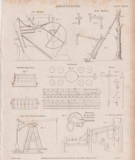 Antique Print, Agriculture, 1818