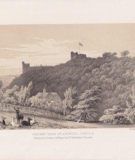 Antique Print, Distant View of Arundel Castle, 1846