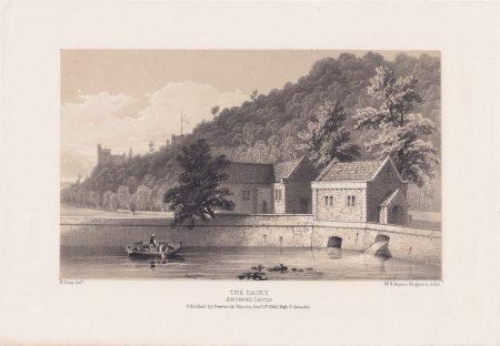 Antique Print, The Dairy, Arundel Castle, 1846