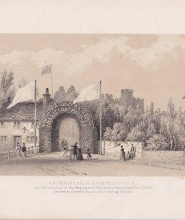 Antique Print, Triumphal Arch, Arundel Castle, 1846