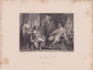 Antique Engraving Print, The scothing of Saul, 1865 ca.