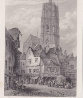 Antique Engraving Print, Cathedral of Rodez, 1870